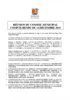 Conseil municipal du 14 décembre 2015