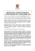 Conseil municipal du 16 décembre 2015