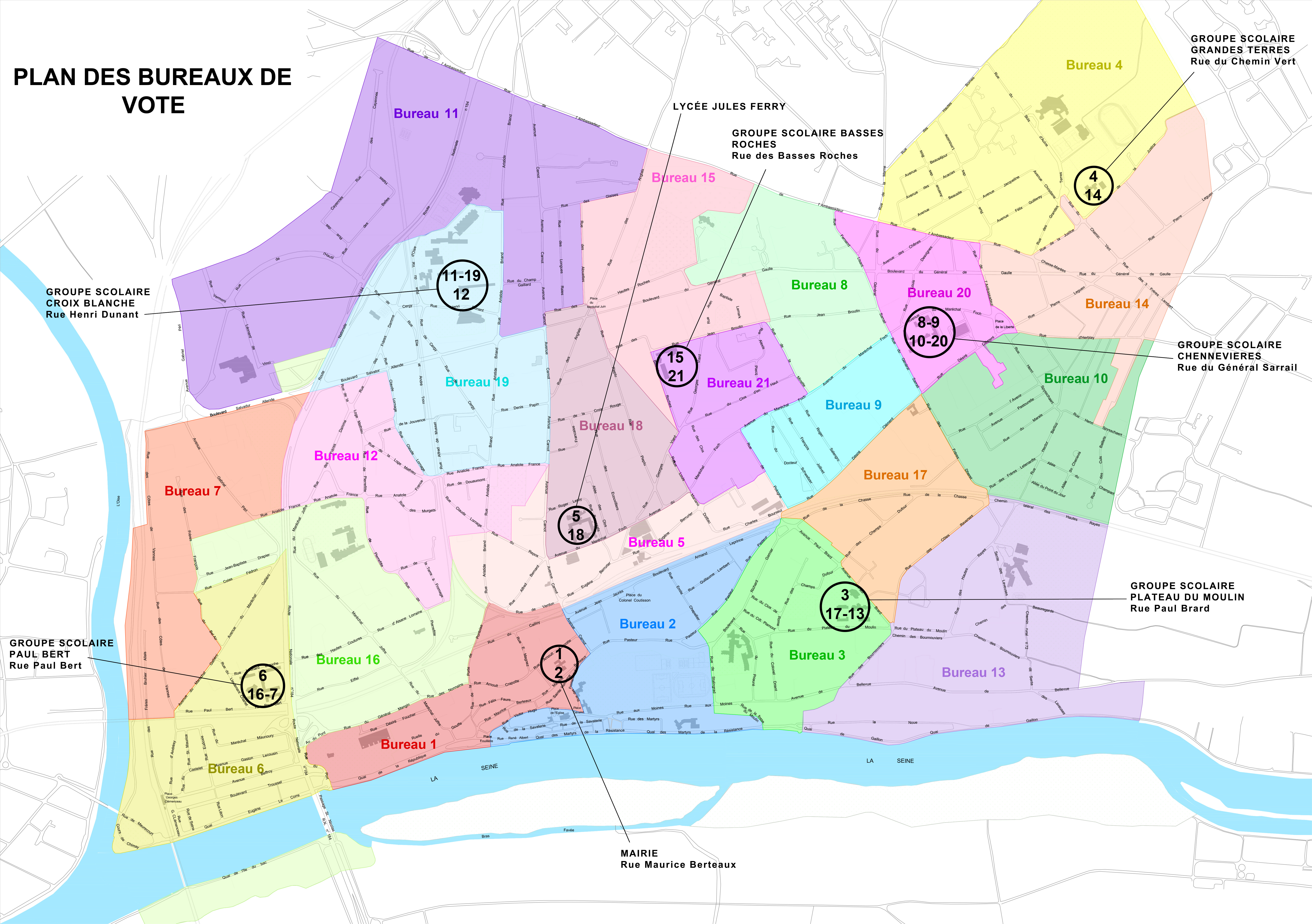 Plan des bureaux de vote
